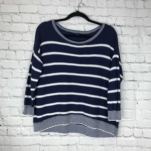 ♣️American Eagle Blue White Striped Crop Sweater